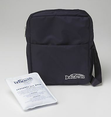 Dr Brown's Insulated Bottle Tote Bag with Re-Usable Ice Pack BLACK Cooler Bag