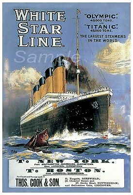 Vintage White Star Line Titanic & Olympic A4 Poster Print