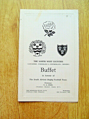 North West Counties v South Africa 1969 Rugby Dinner Menu
