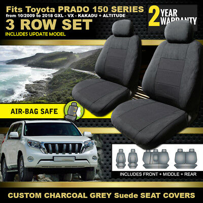 CUSTOM SEAT COVERS TOYOTA PRADO 150 SERIES GXL 3ROWS 10/2009-2017 inc FACELIFT