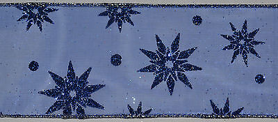 Wired Ribbon~Sheer~Royal Blue~Sparkle Star~Christmas~Wreath~Holiday~Gift~Bow