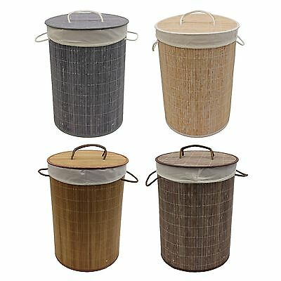 JVL Bamboo Collapsible Clothes Washing Laundry Baskets with Removable Lining
