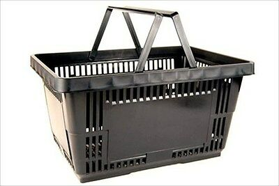 Plastic Grocery Store Shopping Basket- Black- Eco / Environmentally Friendly