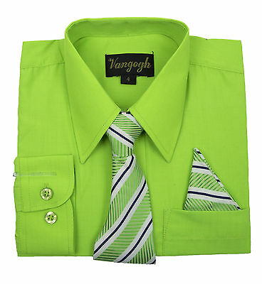 Boys Lime Green Dress Shirt with Matching Tie & Hankie Long Sleeve sizes 4 to 20