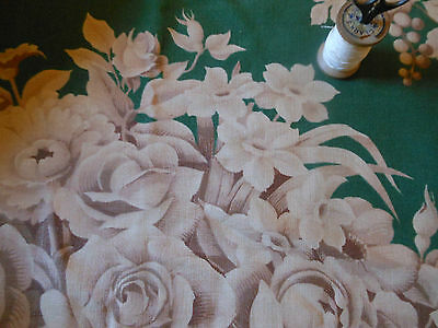 Antique Vintage 1940's Cottage Roses Grapes Floral Fabric~ Green Taupe Tan Brown