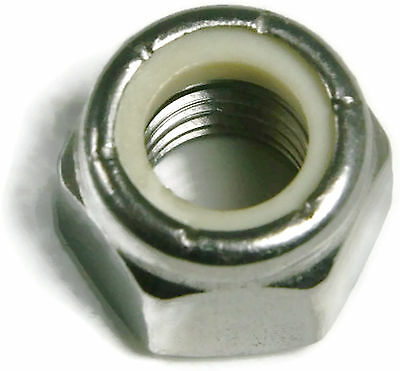 Stainless Steel Nylon Insert Lock Hex Nut UNC #10-24, Qty 100