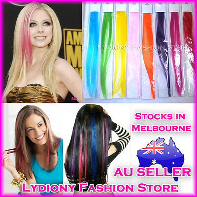 Synthetic Hightlight Clips in on Straight Hair extensions Hairpiece Girls Ladies
