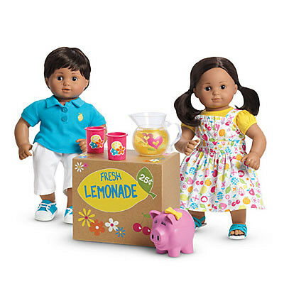 """American Girl BT BITTY TWIN LEMONADE STAND SET for 15"""" Baby Dolls Pitcher NEW"""