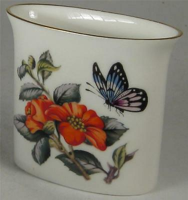 Royal Worcester Red Flowers & Butterfly Toothpick Holder