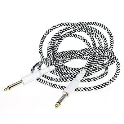 3m/10FT Cloth Braided Tweed Electric Box Piano Guitar Cable Cord Black White Hot