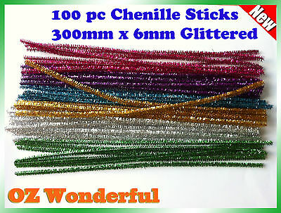 100 Glitter Infused Pipe Cleaners Chenille Sticks Stems 6mm x 30cm Asst Colours