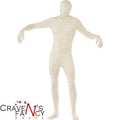 Adult Mummy Second Skin Costume Mens Halloween Fancy Dress Outfit New