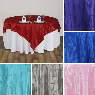 "30 PINTUCK 85x85"" SQUARE Table OVERLAYS Wholesale Wedding Party Linens on SALE"