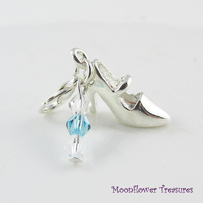 Silver Plate Cinderella Shoe Charm with Crystal fit Clip On Charm Bracelet