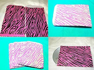 100 5x7 Combo Hot Pink Zebra Paper Bags, Animal Striped Colored Party Kraft Bags
