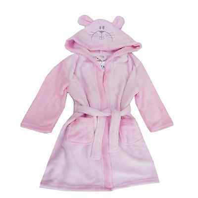 Girls Pink Bunny Animal Hooded Bath Robe Dressing Gown Nifty Kids RRP £29-99