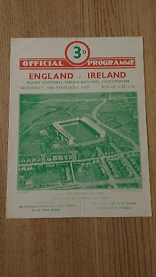 England v Ireland 1948 Rugby Programme