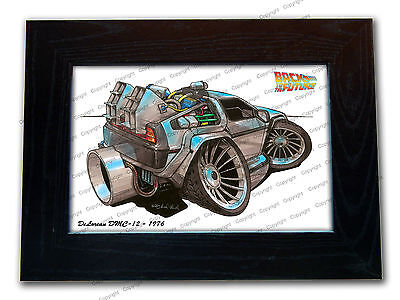 BACK TO THE FUTURE DeLorean DMC-12 Movie Koolart Quality Glass Framed Picture