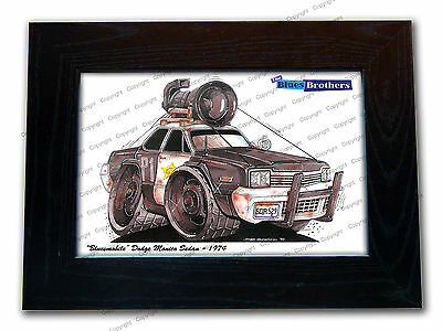 THE BLUES BROTHERS BLUESMOBILE Movie Car Koolart Quality Glass Framed Picture
