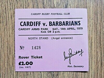 Cardiff v Barbarians 1979 Used Rugby Ticket