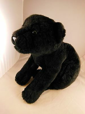 """Awesome  Black Leopard Plush 19"""" Nose to  Tail Beautiful Green Eyes Animal Alley"""