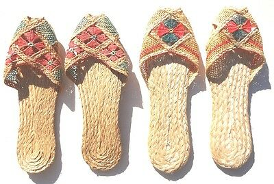 2 Sets Of Vintage WWII ( World War 2) Occupied JAPAN Handmade Sandals Slippers
