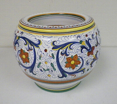 """CAMA DERUTA ITALY FOR COTTURA POTTERY PLANTER POT 8"""" TALL  WITH INSERT"""