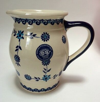 Zaklady Boleslawiec Pitcher Ewer Original Polish Pottery Hand Made Blue Floral