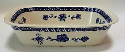 Zaklady Boleslawiec Rectangular Serving Dish Original Polish Pottery Blue Floral