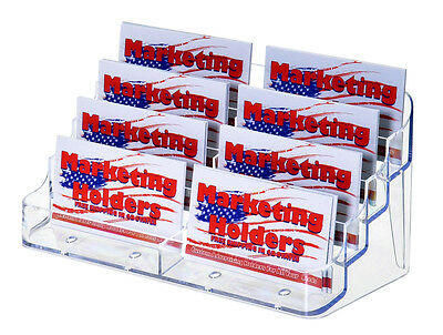 8 Pocket Clear Business Card Holder Stand Acrylic FREE SHIPPING