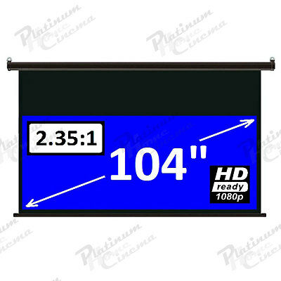"""104"""" Electric HD 2.35:1 Anamorphic Projection Screen projector home cinema White"""