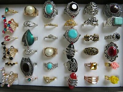 Wholesale Job Lot 12 36 50 75 Rings with Free Display Box Silver Gold Plated