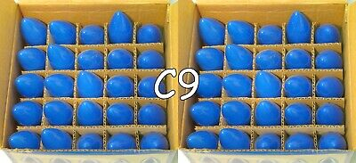 25 - C9 Blue Ceramic Glass Replacement Bulbs Wedding Christmas Party Holiday