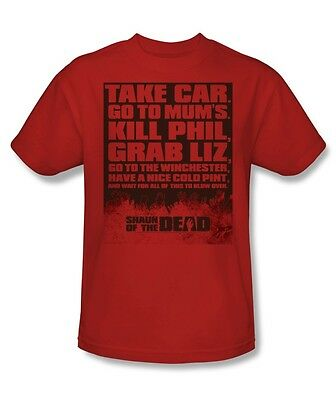 Shaun of the Dead Movie To Do List Kill Phil Licensed Tee Shirt Sizes S-3XL