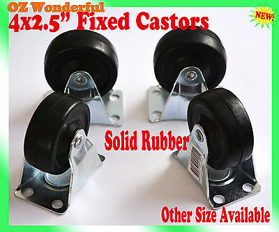 "4 pcs 2.5"" Fixed Castor Wheel 65mm Castors New Good Quality"