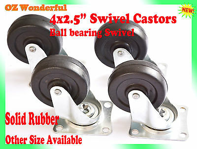 "4 pcs 2.5"" Swivel Castor Wheel 65mm Castors New Good Quality"