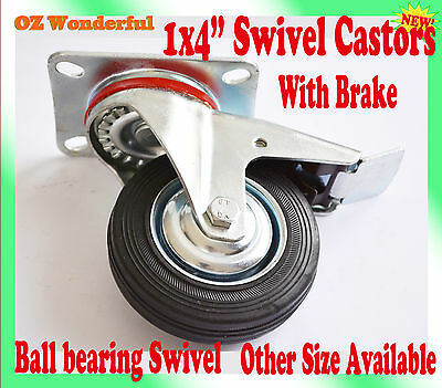 "1 pc 4"" With Brake Swivel Castor Wheel 100mm Castors New Good Quality"