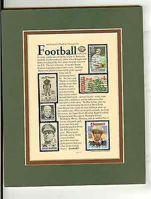 """Football Stamps With Story Matted 8"""" X 10"""" Suitable For Framing Great Fan Gift"""