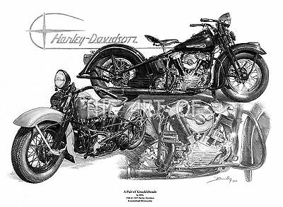 Harley Davidson Knuckleheads 1946 and 1947 by Billy fine art print