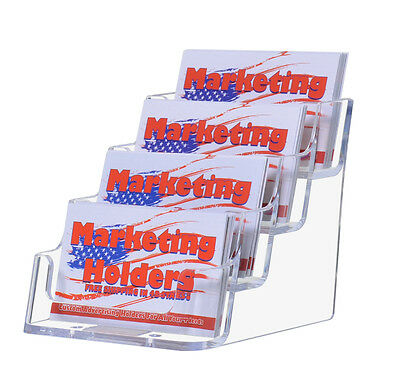 4-tier/pocket Clear Acrylic Business Card Holders -NEW FREE SHIPPING