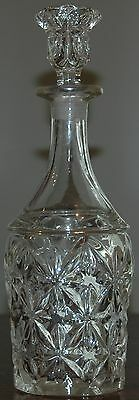 Beautiful Vintage Clear Glass Decanter & Stopper Large Heavy