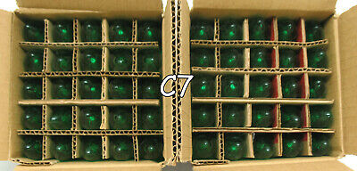 25 - C7 Green Transparent Glass Replacement Bulbs Wedding Christmas Holiday