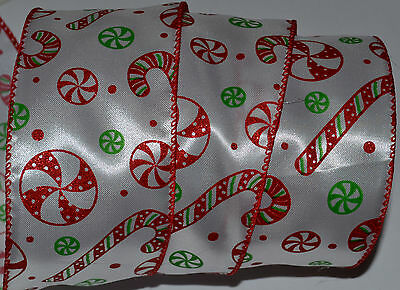 Wired Ribbon~Christmas Candy Cane~Peppermint~Red~Green~Holiday~Wreath~Gift~Bow