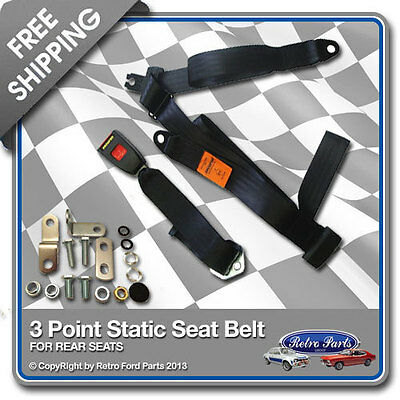 Classic Car 3 Point Rear Static Seat Belt in Black - Retro Vintage Cars