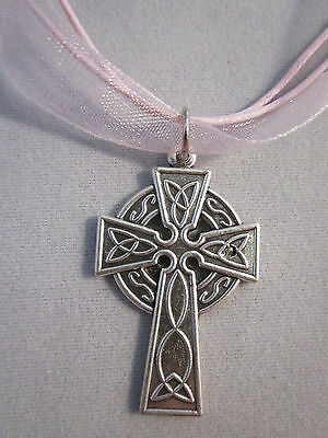 """Celtic Cross Pendant Italy 18"""" Pink Ribbon Voile Necklace Cord"""