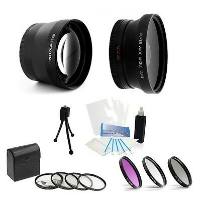 58mm 3 Lenses Telephoto Wide Angle and filters for Nikon AF-S DX 55-300mm f/4.5-