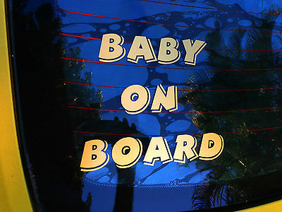 BABY ON BOARD decal sticker safety sign for car,4x4,SUV window panel.26 colours!