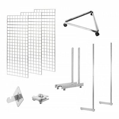 Gridwall Mesh Chrome Retail Shop Display Panels Legs Bases Fixings Brackets Clip