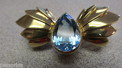Incredible 18k Gold & Blue Topaz Clasp 25 grams for Multiple Strand Necklace 18k