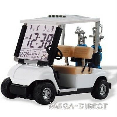 #1062W Mini White Golf Cart Buggy Alarm Clock Thermometer °C/F